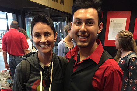 Theatre Wesleyan graduate Jacob Rivera-Sanchez '15 (left) takes a photo with Beth Malone, Tony Award-nominated Best Actress in a Musical for her role in 'Fun Home.' Photo courtesy of Jacob Rivera-Sanchez.